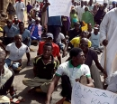 Disabled protesters on the street in Nigeria