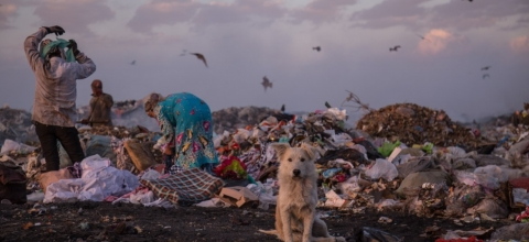 A dog sits by a pile of garbage at a landfill while people rummage through the piles.