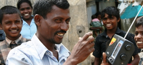 Distributing radios in Sri Lanka