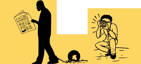 Graphic of a man taking a photo next to a man reading a newspaper with a ball and chain on his ankle