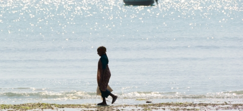 A woman walks alone on a beach; a boat floats in the water