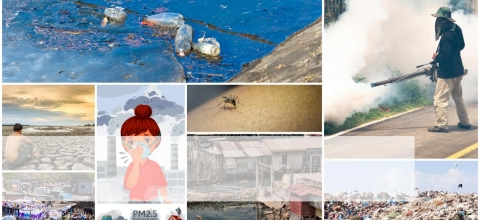 A montage of photos related to health and the environment