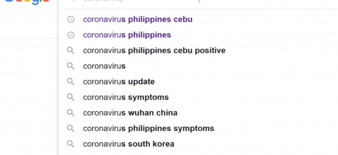 "A google search of ""corona virus"""