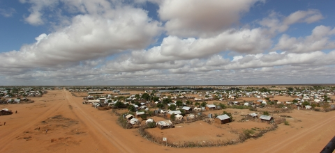 Overhead view of Dadaab refugee camp