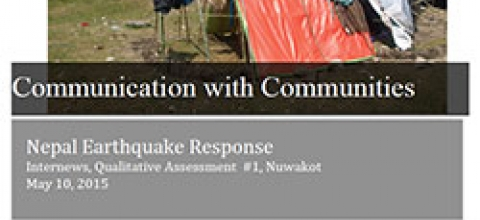 Cover: Communicating with Communities, Nepal Earthquake Response, Assessment #1, Chautara