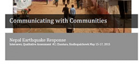 Cover: Communicating with Communities, Nepal Earthquake Response, Assessment #2, Chautara