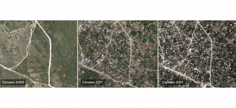 3 aerial views of Canaan in different years