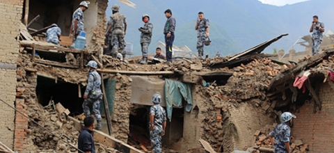 The military examines damage after the Nepal earthquake
