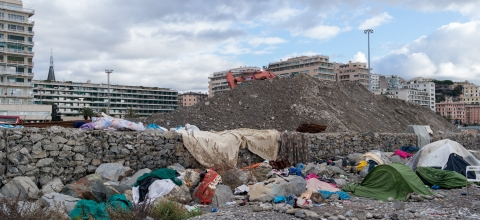 Migrant tents in Genoa beach, Italy